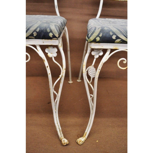 Vintage French Art Nouveau Wrought Iron Floral Dining Chairs - Set of 4 For Sale - Image 9 of 13