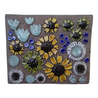 Jie Gantofta Mid-Century Swedish Floral Wall Plaque For Sale