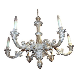 Large French Louis XV Style White Gold Giltwood Chandelier For Sale