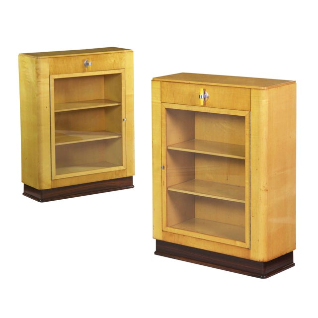 Art Deco Birch & Rosewood Vitrine Bookcase Cabinets circa 1930 - A Pair For Sale