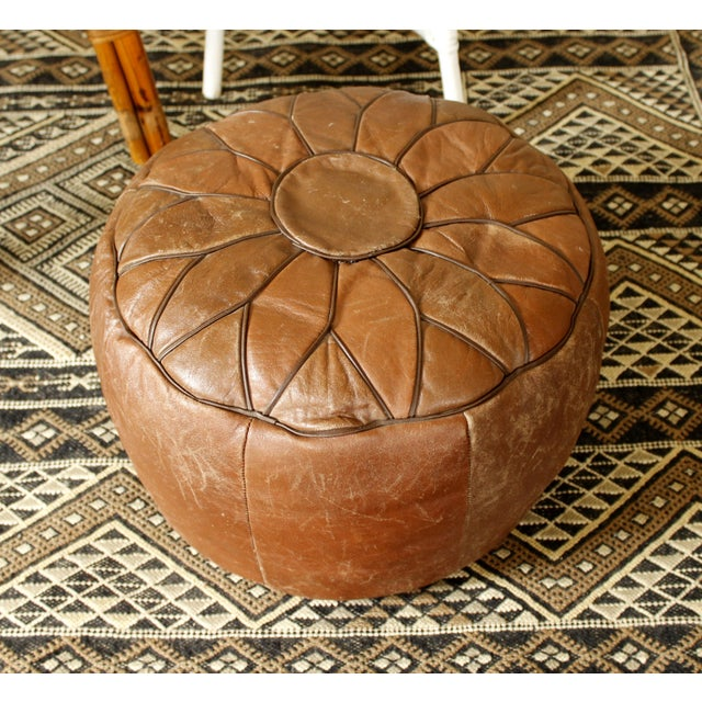 Vintage Brown Leather Floor Pouf - Image 2 of 7