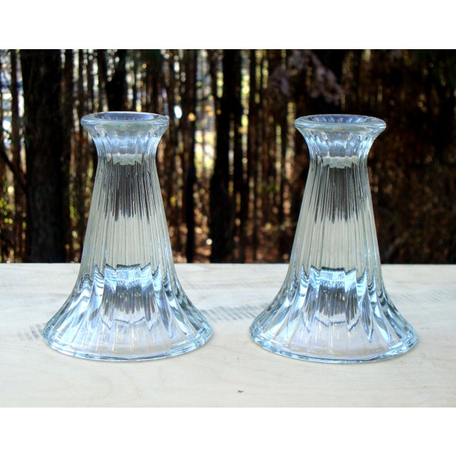 Modern Crystal Ribbed Candle Holders - Pair - Image 4 of 8
