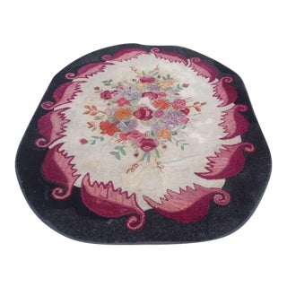 Room Sized Hand-Hooked New England Floral Rug For Sale