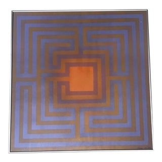 "1972 Abstract ""Labyrinth if 5 "" Silkscreen Print by Judith Azur"