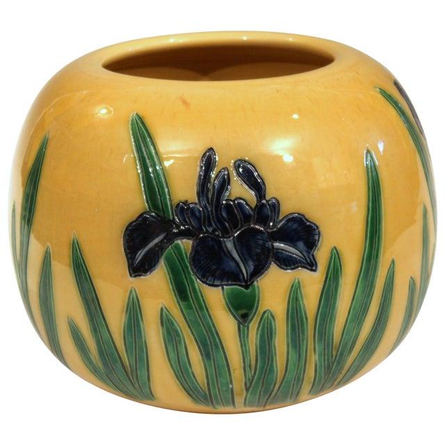Large Tanabe-Awaji Pottery Japanese Incised Iris Signed Jardinière Bowl Vase For Sale