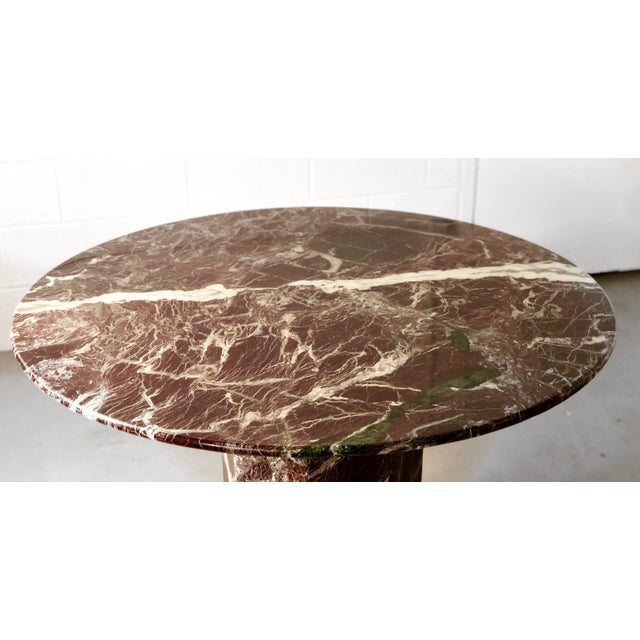 Italian Italian Round Travertine Stone Dining or Center Table For Sale - Image 3 of 6