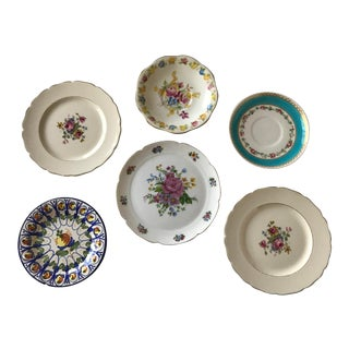 20th Century Boho Chic Mismatched Small Plate Collection - Set of 6 For Sale