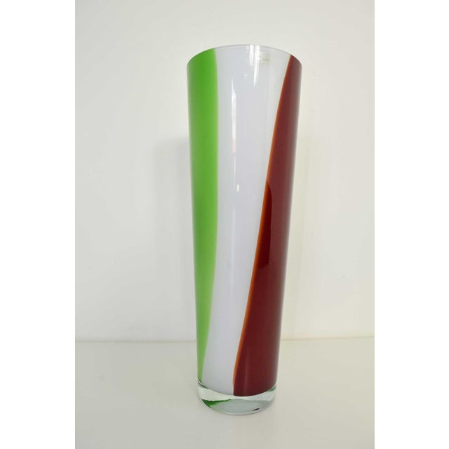 Very large murano vase with green, red and white glass color