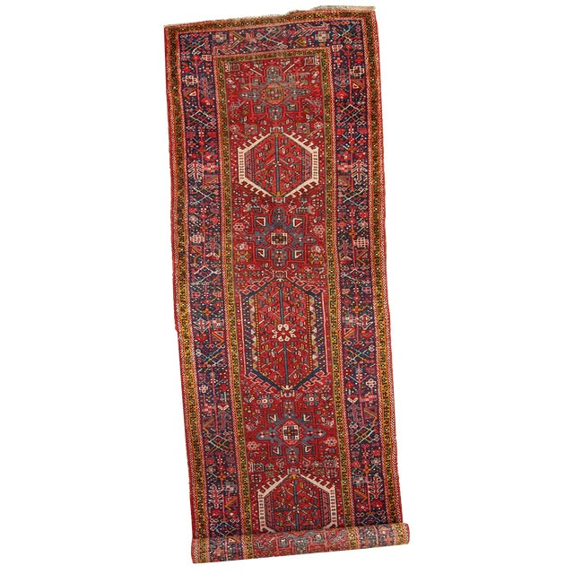 1920s Handmade Antique Persian Karajeh Runner - 3.5' X 10.8' - Image 1 of 10