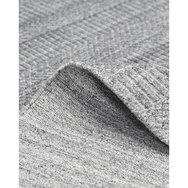 Contemporary Sanam, Contemporary Solid Hand Loomed Area Rug, Gray, 8 X 10 For Sale - Image 3 of 9