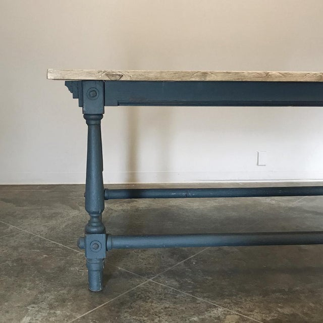 Wood Antique Painted Dining Table With Stripped Top For Sale - Image 7 of 12