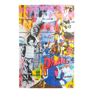 "Mr. Brainwash Rare "" Never Never Give Up "" Authentic Lithograph Print Pop Art Poster For Sale"