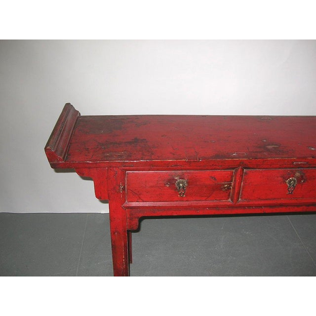 Asian Style 19th Century Chinese Red Lacquer Country-Style Altar Desk/Console Table For Sale - Image 4 of 7