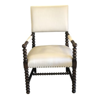 Modern Traditional Armed Upholstered Vestige Chair For Sale