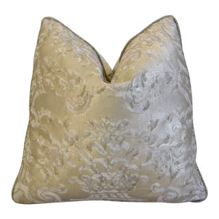 "Italian Mariano Fortuny Carnavalet Feather/Down Pillow 19"" Square For Sale"