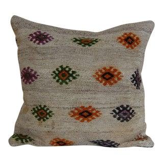 Boho Chic Handmade Kilim Rug Pillow Cover For Sale