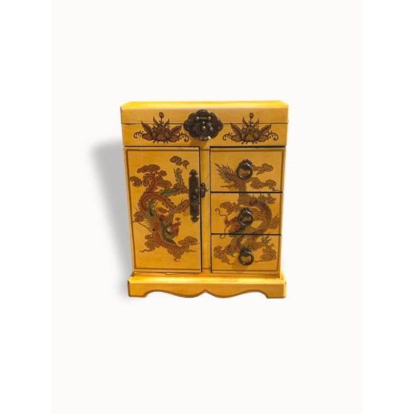 Wooden Yellow Jewelry Box For Sale In New York - Image 6 of 6