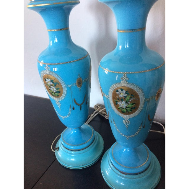 Pair of Table Lamps Antique French Blue Glass Opaline - Image 3 of 6