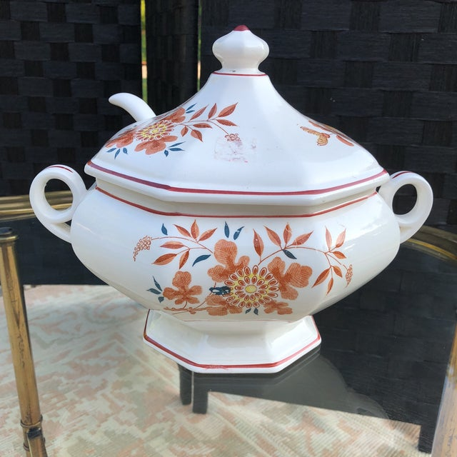 Imari Orange and Teal Soup Tureen With Ladle - 3 Pieces For Sale In Pittsburgh - Image 6 of 13
