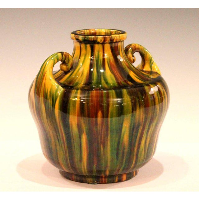 Art Deco Awaji Pottery Art Deco Japanese Vintage Studio Vase in Yellow Flambe Glaze For Sale - Image 3 of 9
