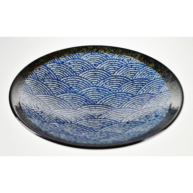Vintage Japanese Blue Wave Pattern Ceramic Bowl - Image 3 of 11