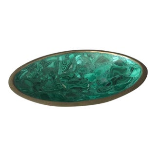 Polished Malachite & Brass Oval Bowl