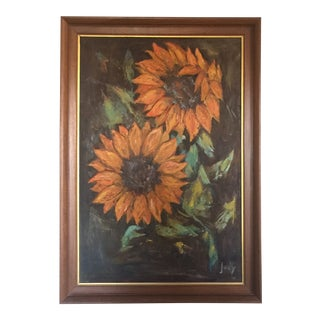 Mid-Century Sunflower Still Life Impressionist Painting by Jody For Sale
