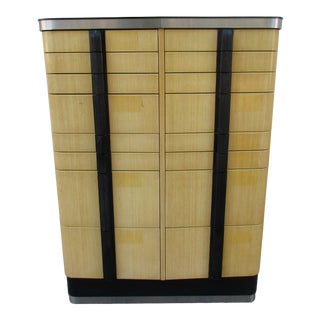 Art Deco Tan and Black Lacquer Dental Cabinet For Sale