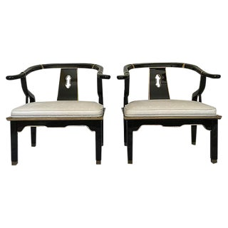 James Mont Ming Style Asian Club Chairs - A Pair