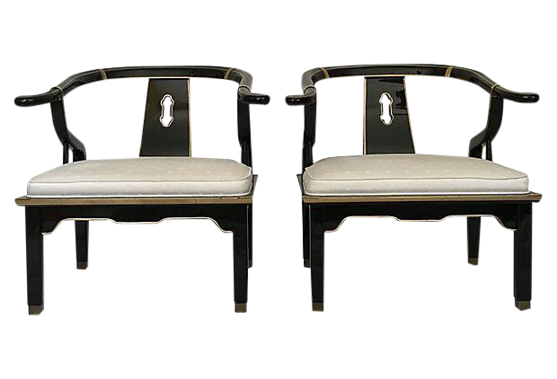 James Mont Ming Style Asian Club Chairs   A Pair