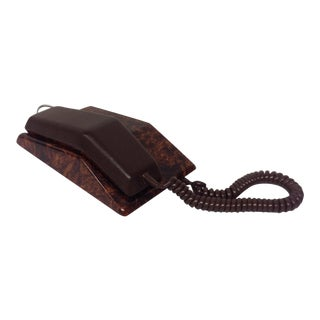 Full Grain Leather and Faux Burl Executive Phone For Sale