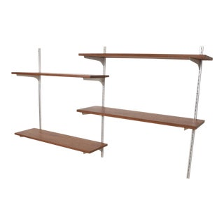Mid-Century Modern Teak & Aluminum Wall Unit Shelving For Sale