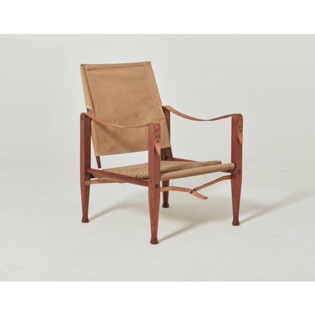 Kaare Klint Safari Chair in Canvas, Made by Rud Rasmussen, Denmark For Sale - Image 6 of 6