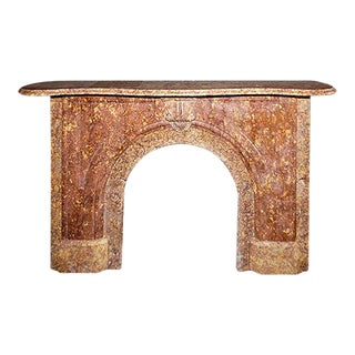 1860 Italianate Style Rare Exotic Sienna and Brick Colored French Marble Mantel For Sale