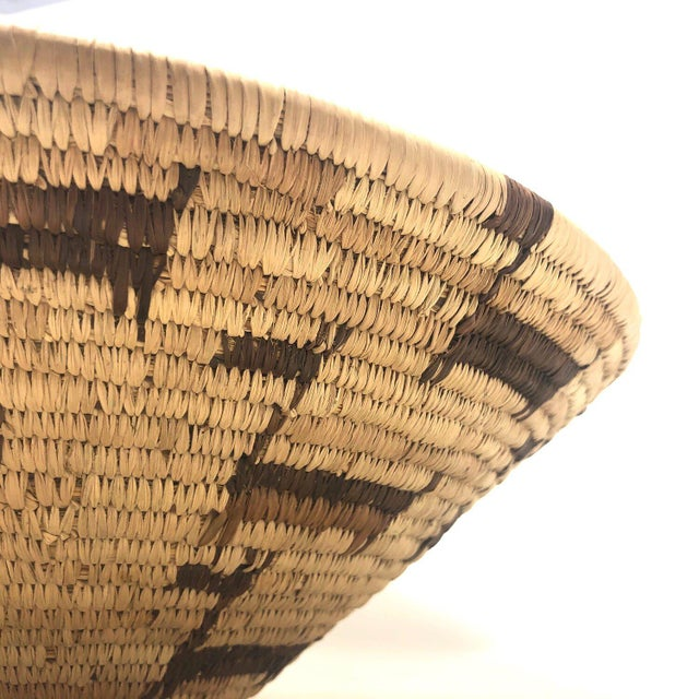 Tan African Deer Motif Woven Basket For Sale - Image 8 of 10