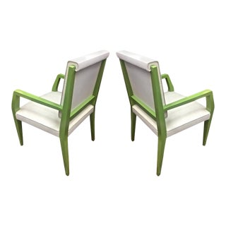 Jacques Quinet Chicest Rare Green Lacquered Pair of Chairs Newly Covered For Sale