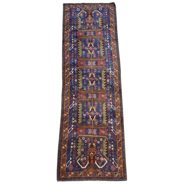 "Afghan Geometric Multi-Color Runner-3'x9'6"" For Sale"