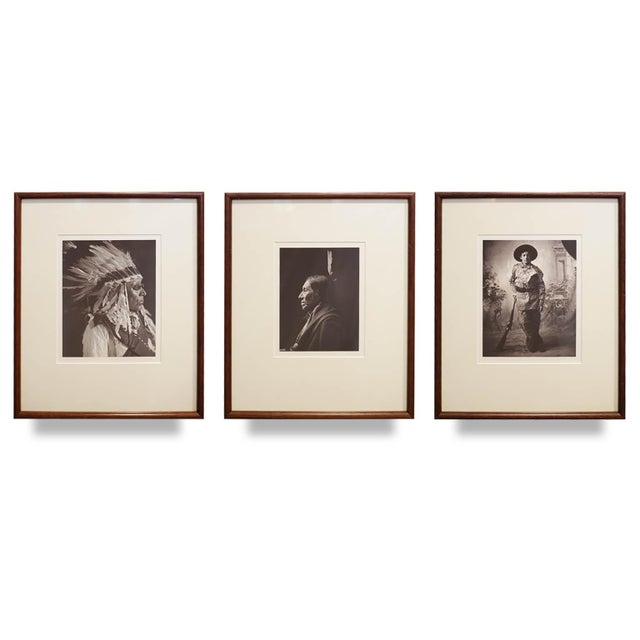 Brown Early 20th c. Framed Native American Photographs by Frank Bennett Fiske, circa 1906 - Set of 3 For Sale - Image 8 of 8