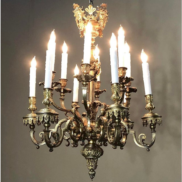 Louis XIV Antique French Louis XIV Bronze Chandelier For Sale - Image 3 of 13