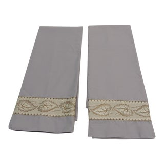 Pair of Antique Trim Pillow Cases in Ecru and Gold Trim