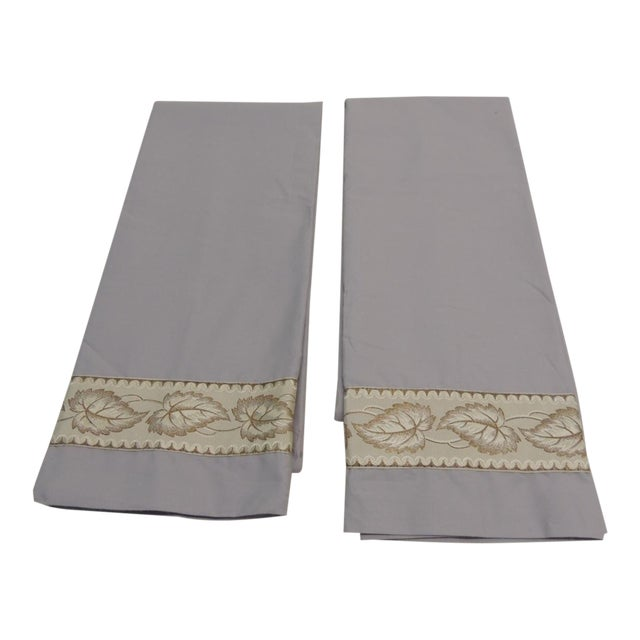 Pair of Antique Trim Pillow Cases in Ecru and Gold Trim For Sale