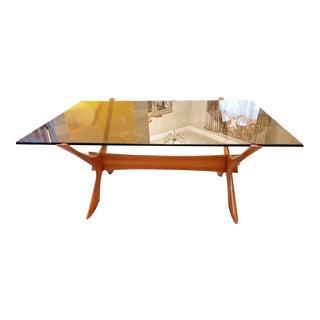 "Vintage Danish Teak ""X"" Base Coffee Table by Illum Wikkelø For Sale"