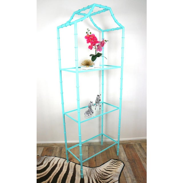 Faux Bamboo Turquoise Etagere Shelf For Sale - Image 4 of 7