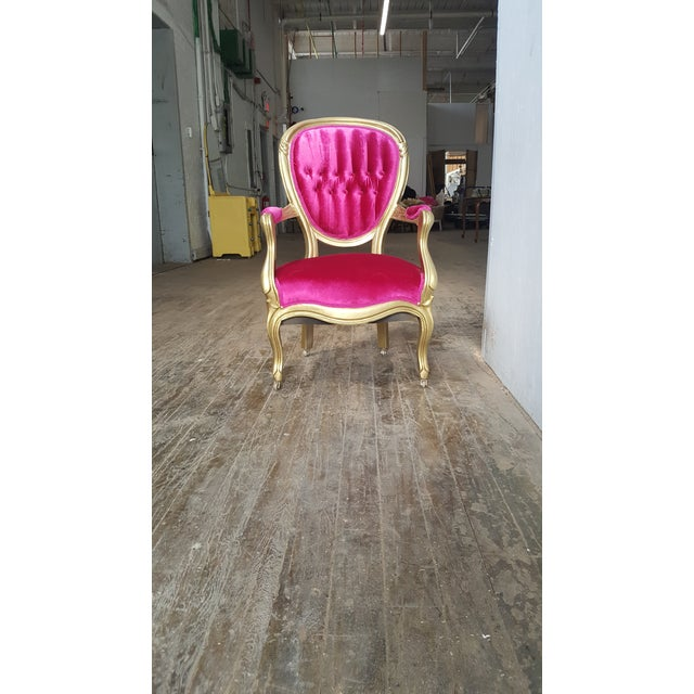 Victorian Antique Pink Velvet and Gold Chair For Sale In Providence - Image 6 of 7