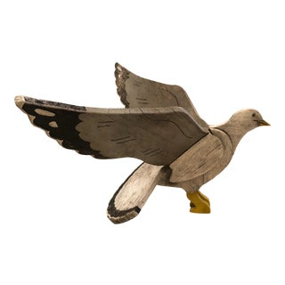 1950s Vintage Nantucket Hand Carved & Painted Folk Art Seagull Sculpture For Sale