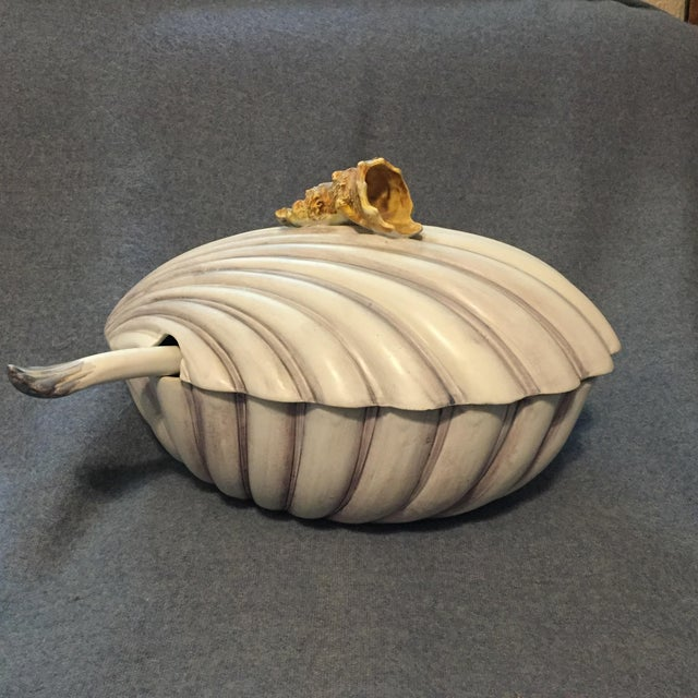 Italian Majolica Clamshell Oyster Soup Tureen For Sale - Image 13 of 13