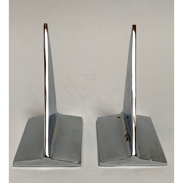 Mid-Century Abstract Modern Chrome Bookends - a Pair For Sale - Image 10 of 13