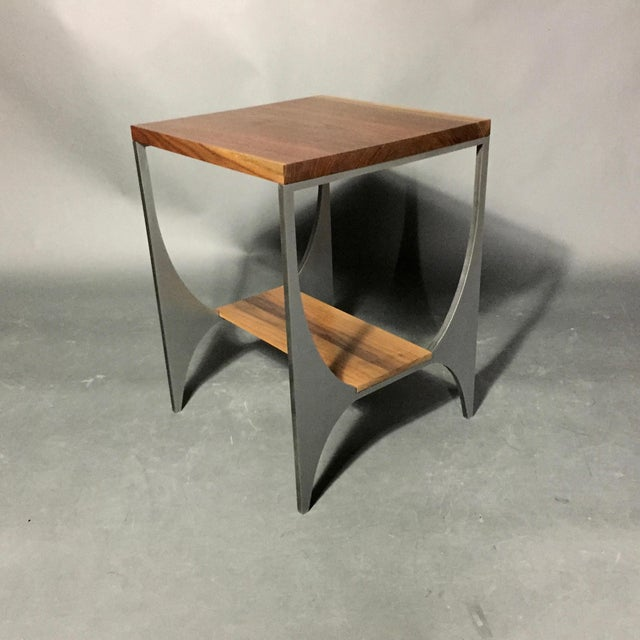 "Richard Velloso ""Curves of Grace"" Black Walnut & Steel Side Tables For Sale - Image 4 of 10"