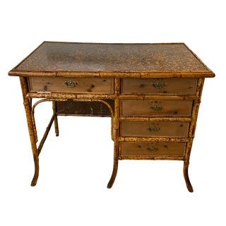 1960s Vintage Bamboo Writing Desk For Sale