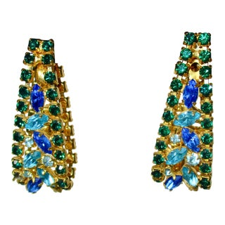 Gilt Metal Jeweled Earrings For Sale